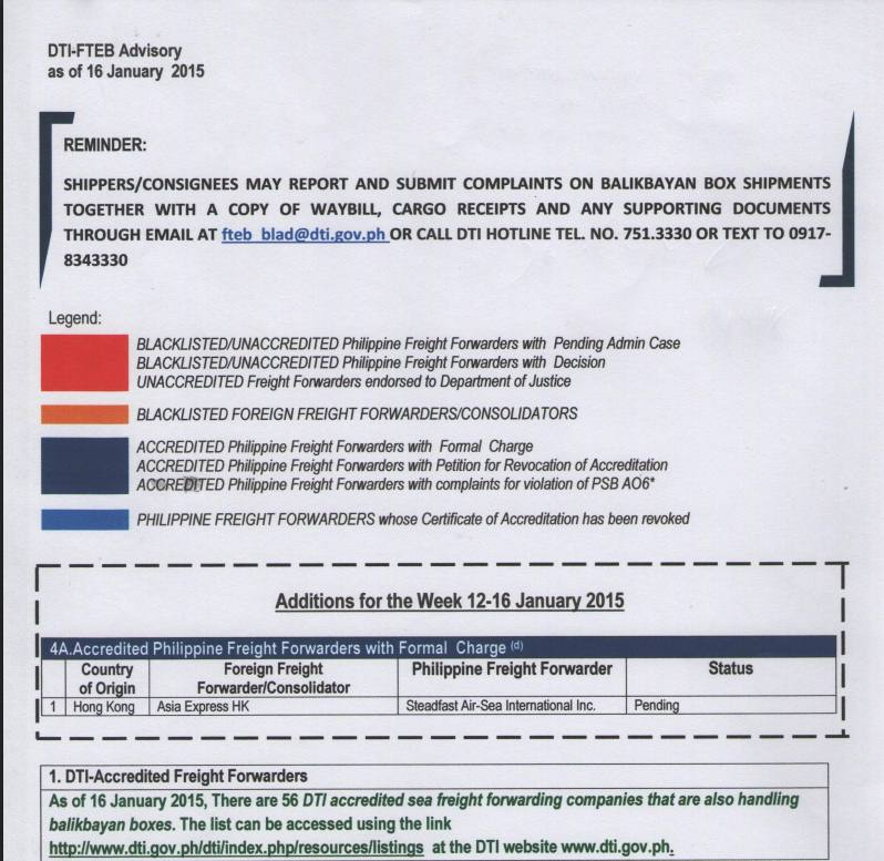 BE AWARE OFW ] Blacklisted Cargo Forwarders List as of