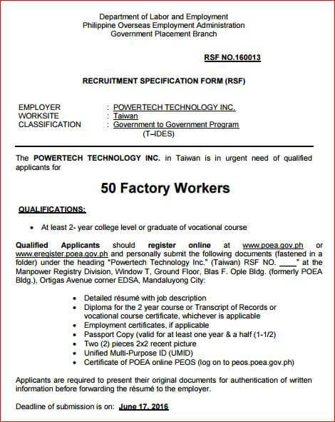 job opening 50 factory workers in taiwan