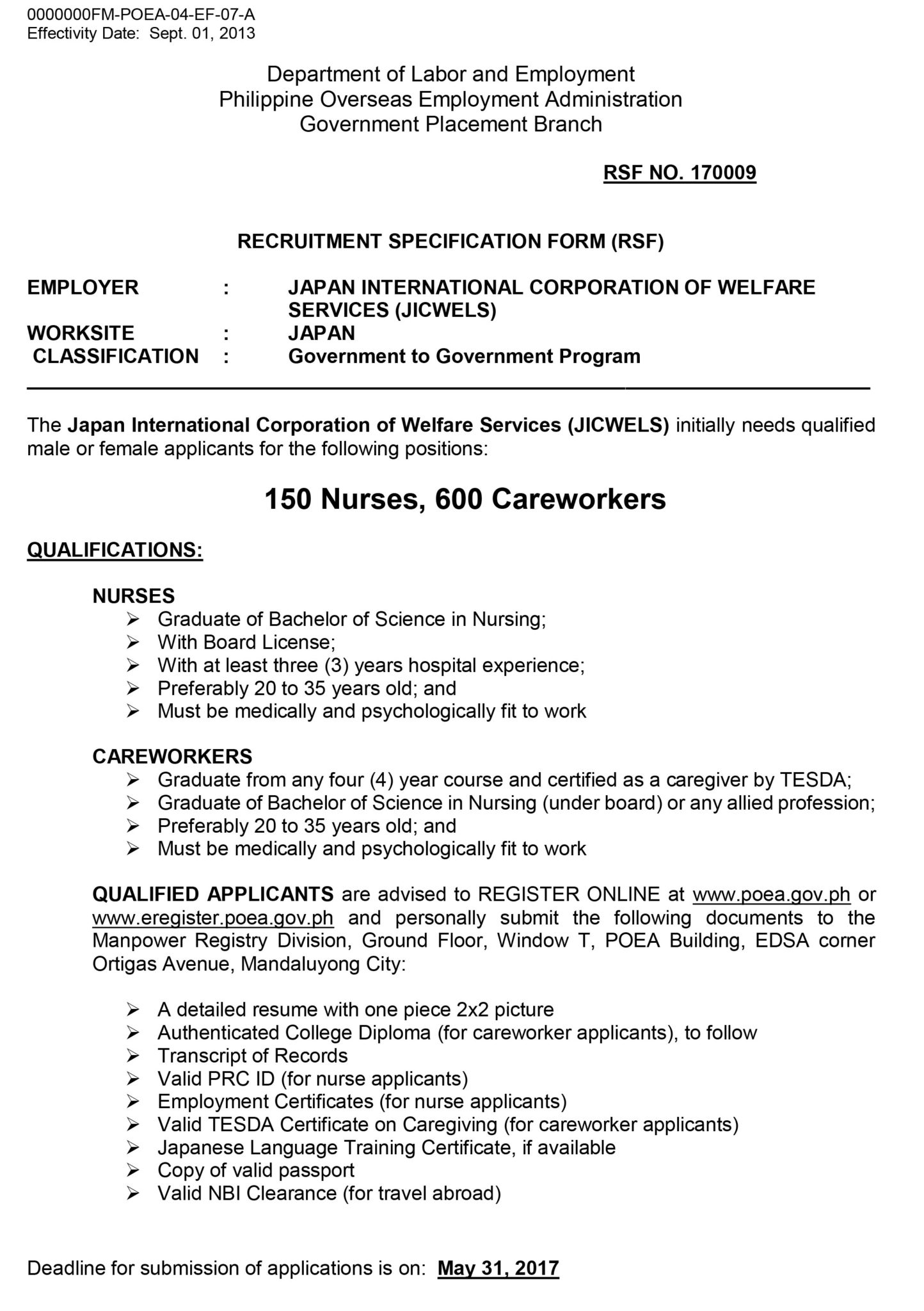 150 nurses 600 careworkers japan international corporation of deadline for submission of applications is on may 31 2017 1betcityfo Choice Image