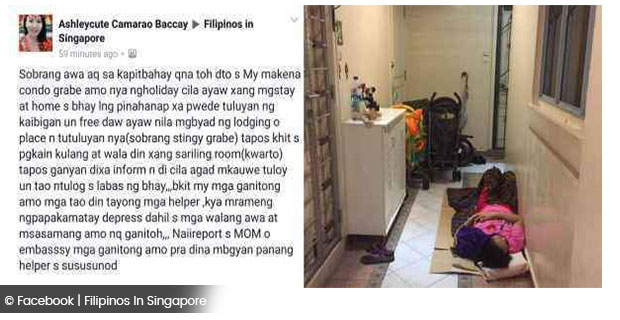 the viral photo domestic helper forced to sleep in an apartment